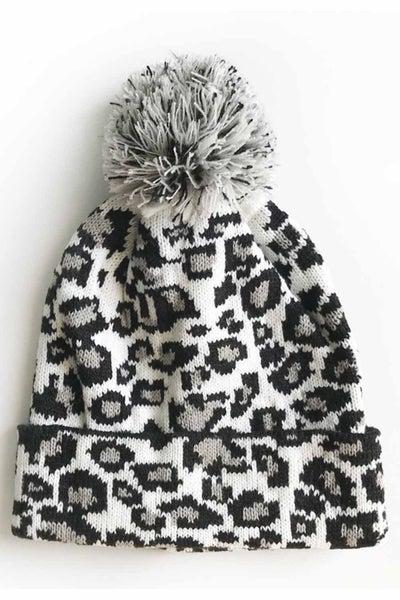 Leopard Pom Beanie