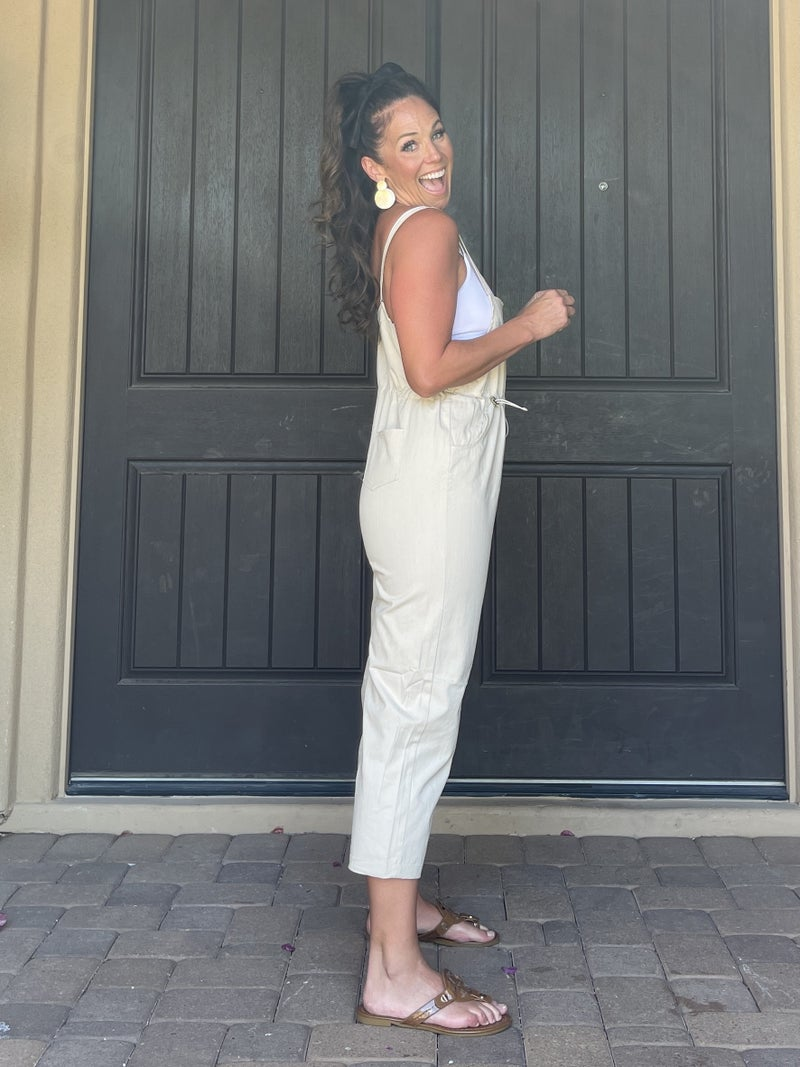 Khaki Overall Stretch Waist Cinch Cropped Jumpsuit