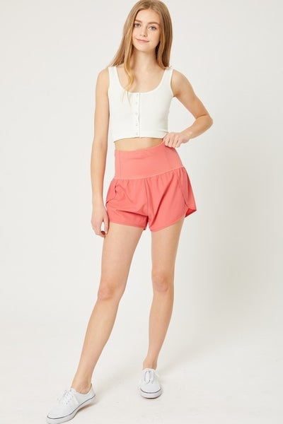 High Waisted Zipper Pocket Athletic Shorts
