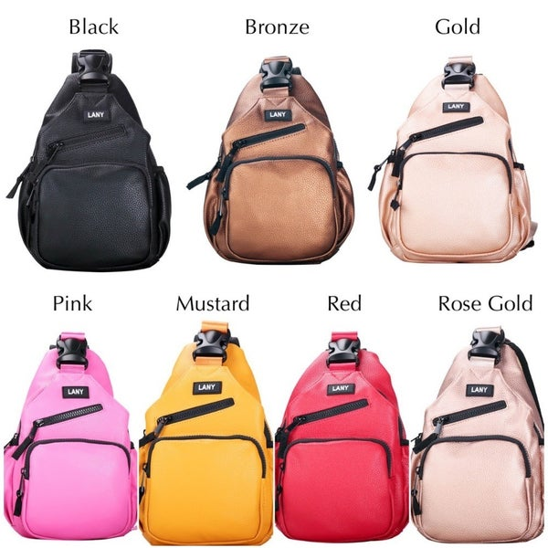 Sling Cross Body Faux Leather Backpack