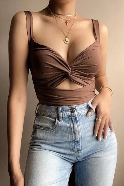 Brown Thick Twisted Strap Cutout Top