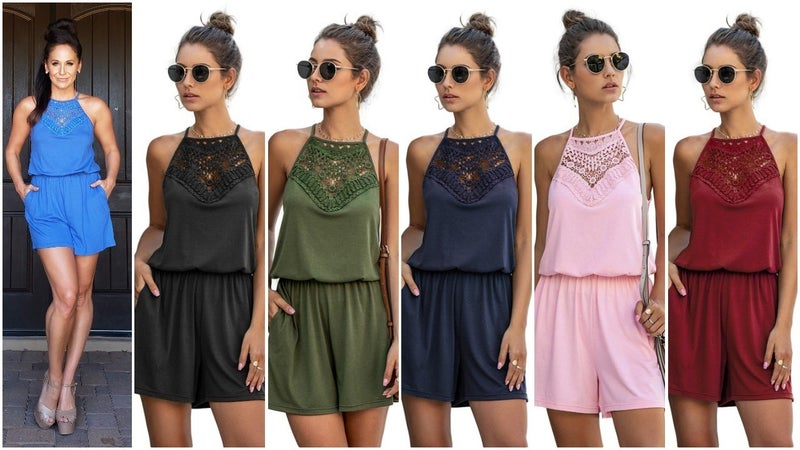 Crochet Lace Halter Elastic Waist Jersey Knit Romper with POCKETS