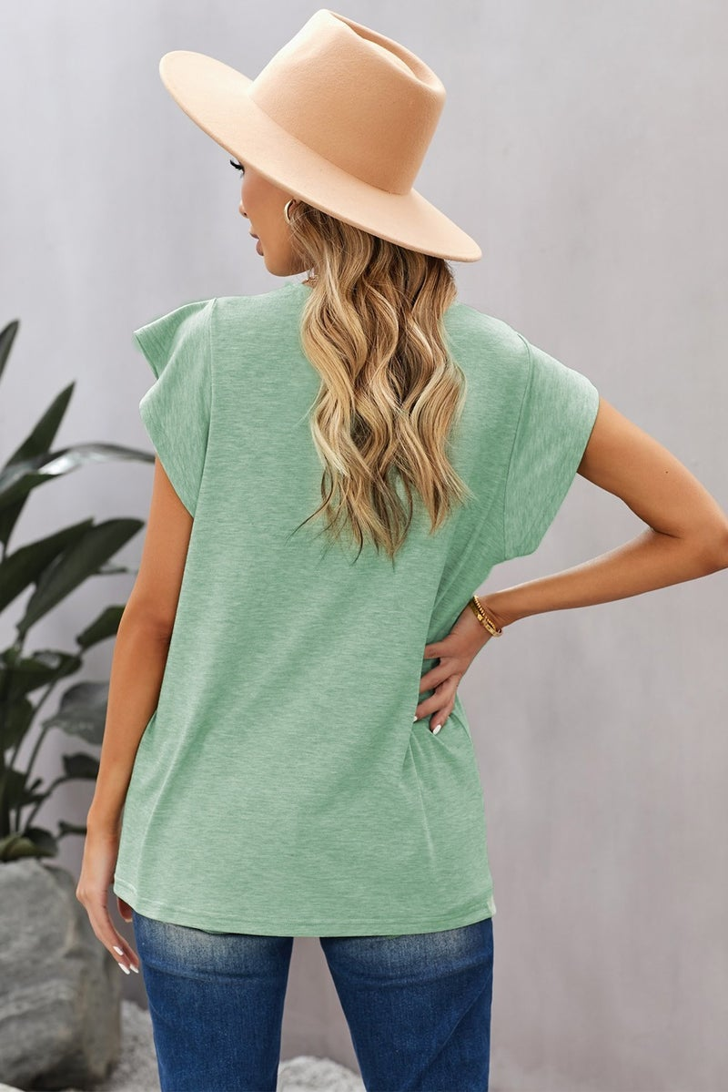 Button V-Neck Lace Trim Ruffled Short Sleeve Tee