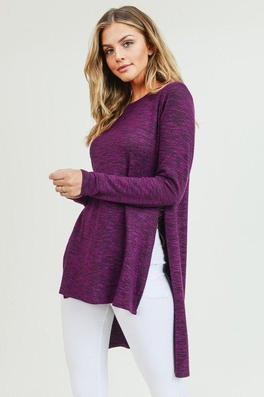 Purple Space Dye High Side Slit Long Sleeve Knit  High Low Top