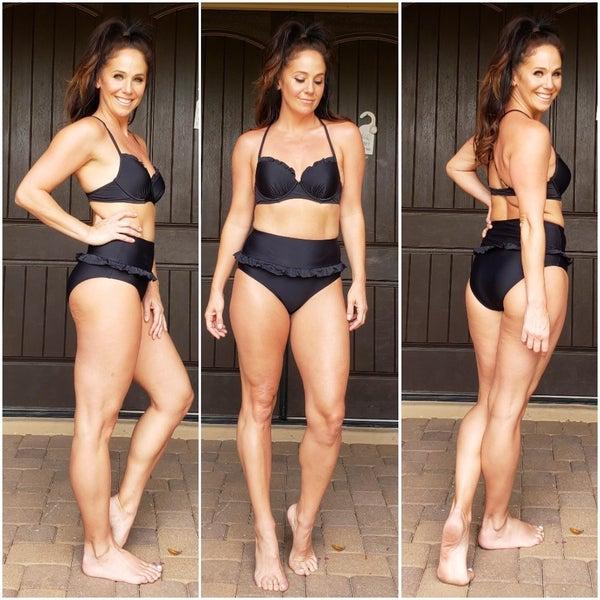 Frilly Ruffled High Waist Bombshell Top Bikini