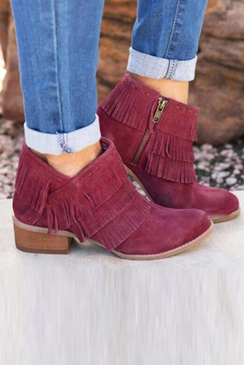 Low Heel Fringed Ankle Booties