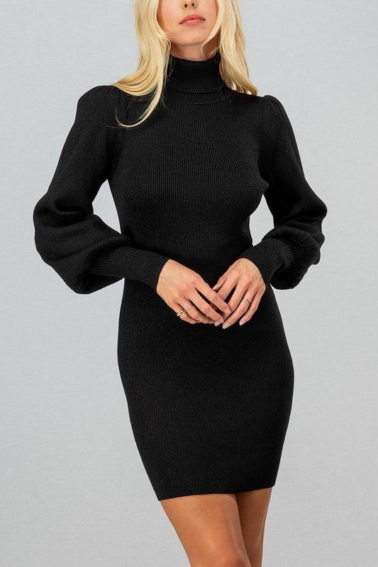 Black Metallic Thread Ribbed Knit Turtle Neck Puff Sleeve Fitted Dress