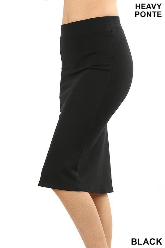 Black Basic Knee Length Skirt