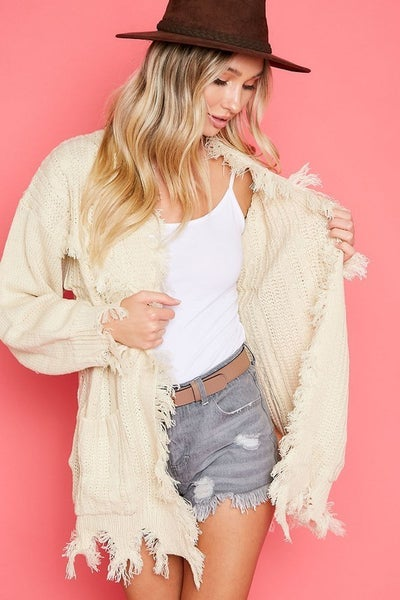 Ivory Raw Cut Frayed Edge Drop Shoulder Pocket Cable Knit Cardigan