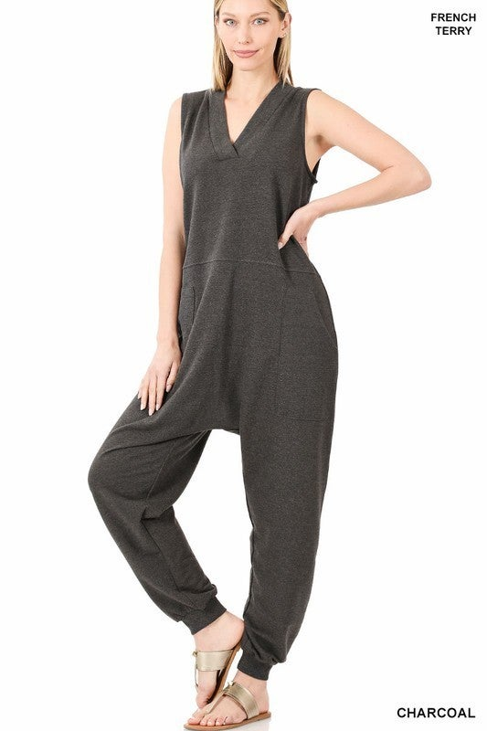 Charcoal French Terry Sleeveless Harem Jumpsuit with POCKETS