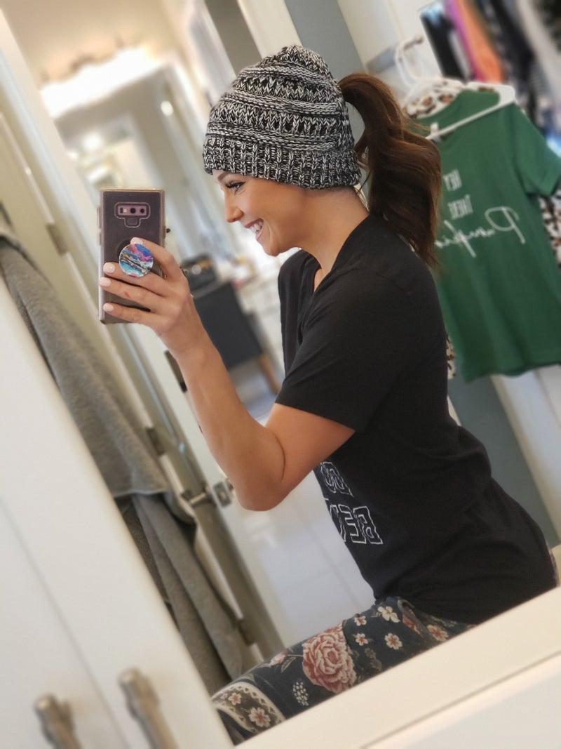 Speckled Ponytail Beanies