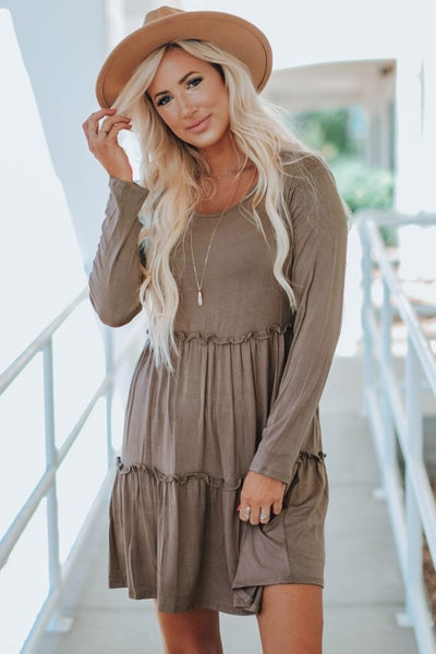 Ruffle Tiered Long Sleeve Jersey Knit Swing Dress