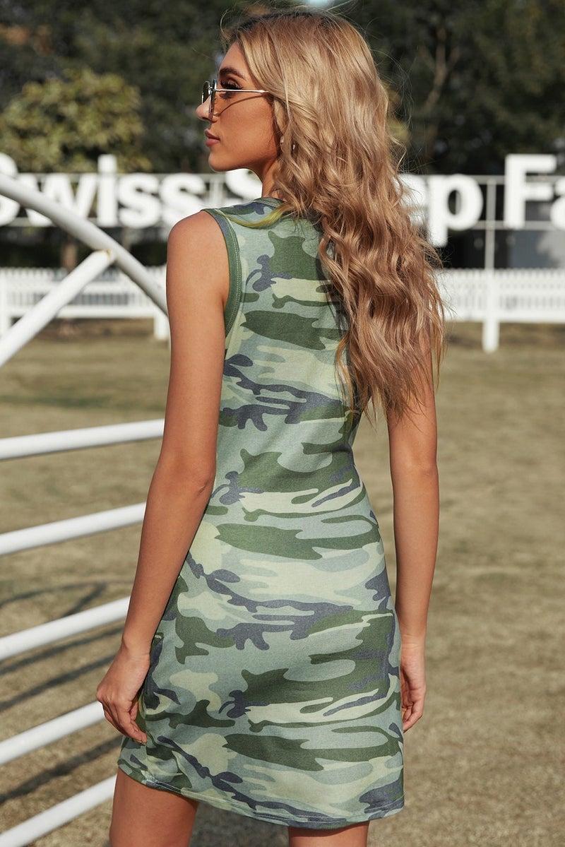 Camo Adjustable Tie Front Sleeveless Mini Dress