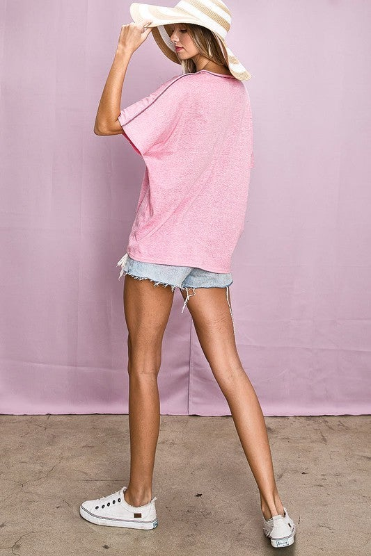 Blush Pink Triblend Knit Out Stitching Detail V-Neck Oversized Tee