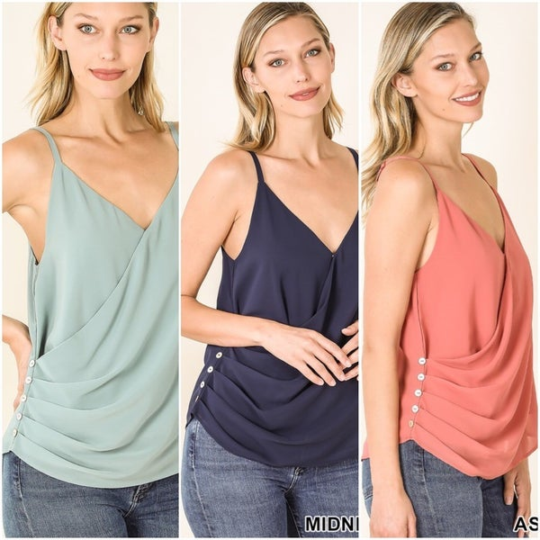 Woven Double Layer Chiffon Spaghetti Strap Button Side Tank