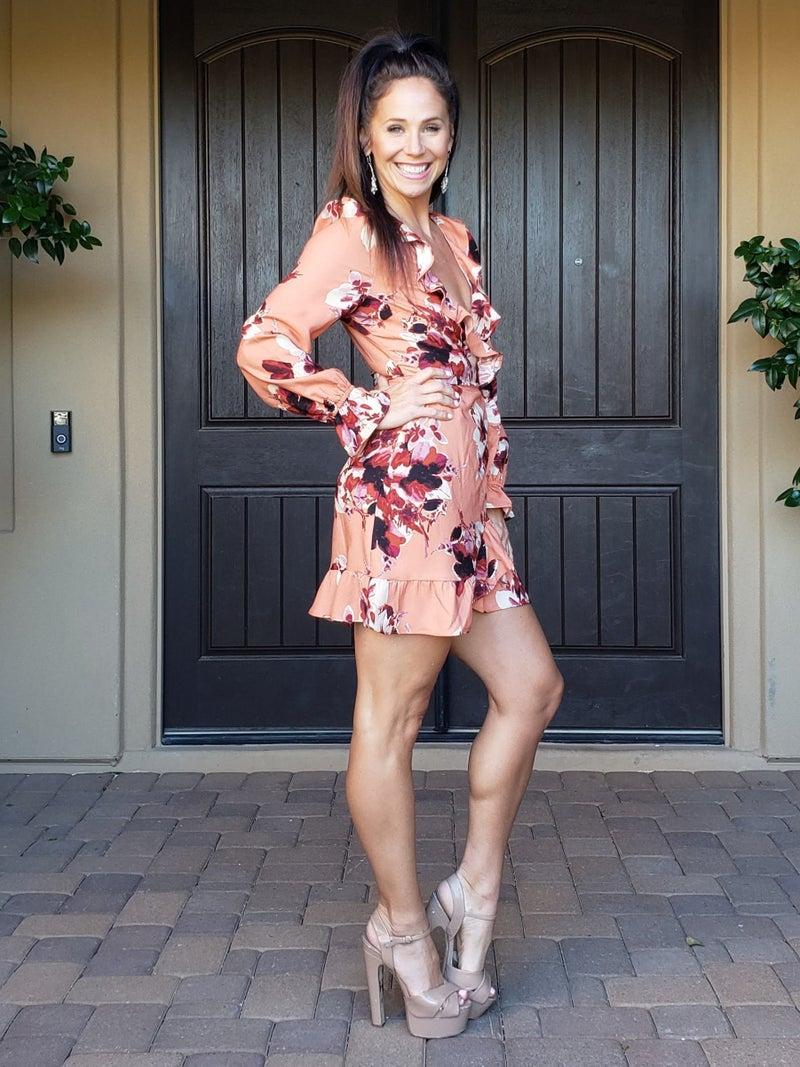 Peach Floral Ruffled Trim &  V-Neck Wrap Dress