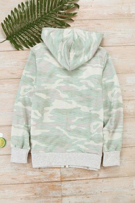 Camo Full Zip Pocket Hoodie Jacket