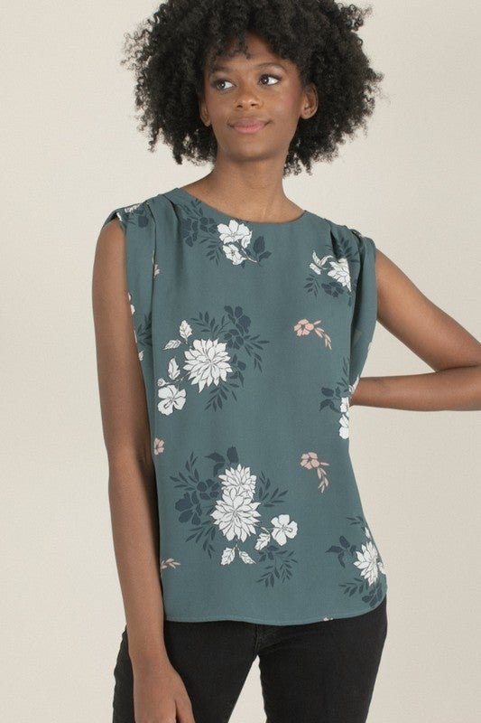 Green & Floral Pleated Shoulder Sleeveless Blouse