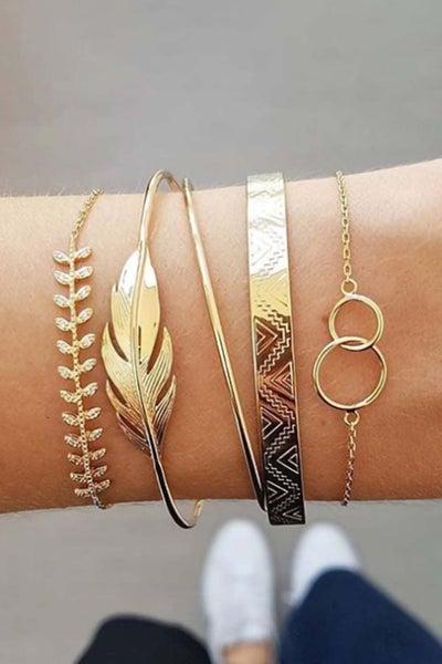 Gold 5 Piece Leaf Bracelet
