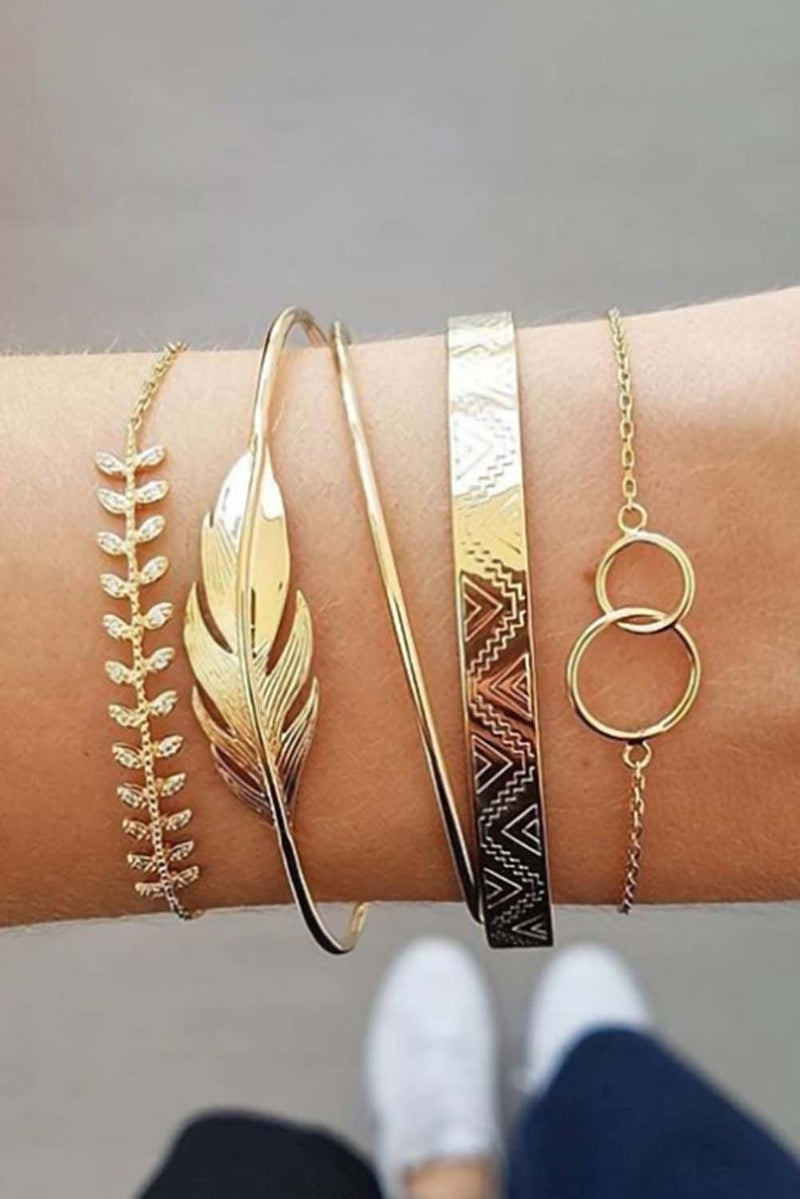 Gold 5 Piece Leaf Bracelet