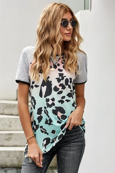 Multi Colored Ombre Leopard & Stripe Sleeve Tee