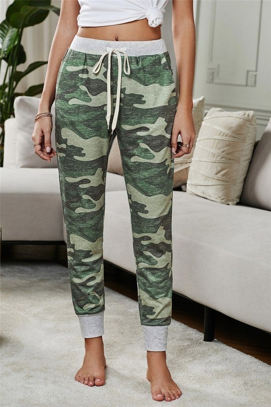 Camo Print Knit Pocket Joggers