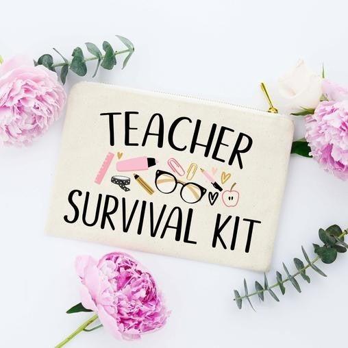 TEACHER SURVIVAL KIT Cotton Canvas Cosmetic Bag