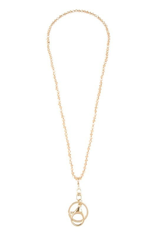 Natural Sparkly Crystal Bead Gold Clasp & Keyring Necklace