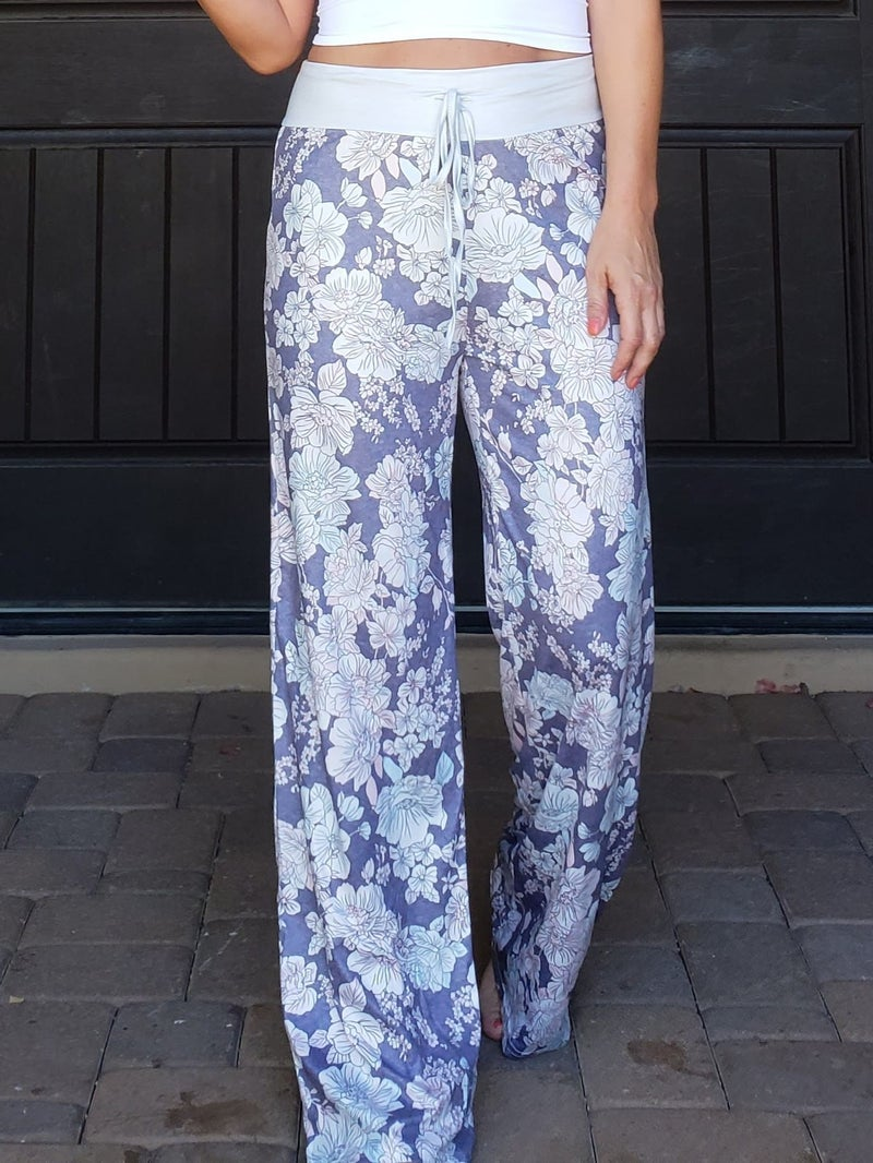 Grey Floral Wide Leg Drawstring High Waisted Lounge Pants
