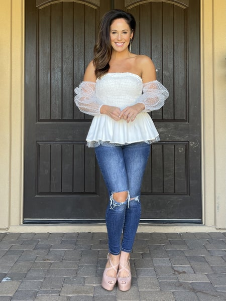 Smocked Mesh Princess Sleeve Double Ruffle Peplum Top