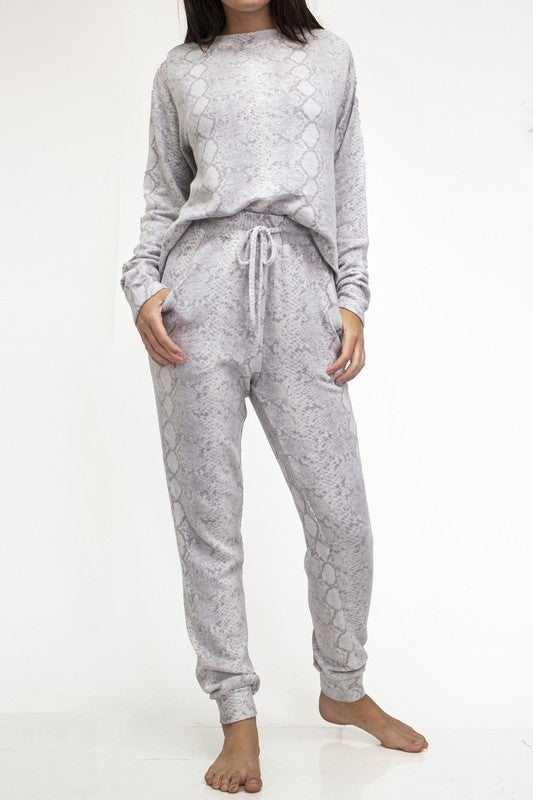 Grey Python Buttery Soft Long Sleeve Top and Jogger Lounge Set
