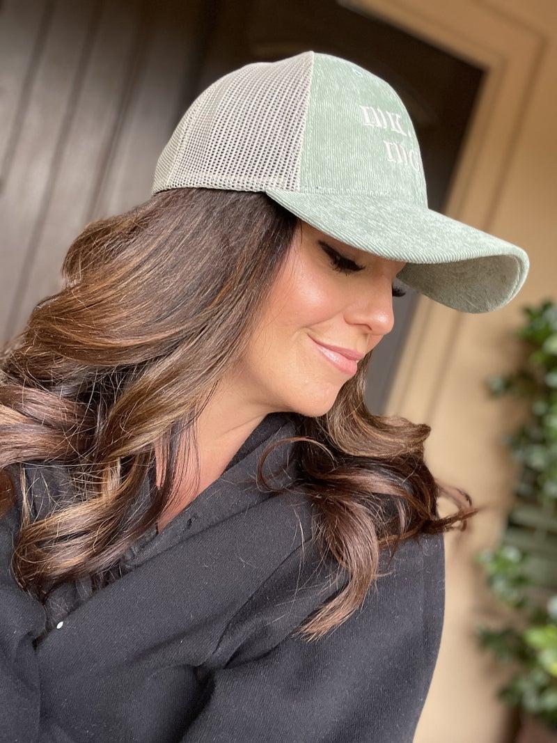 Sage Curduroy IDK IDC IDGAF Snap Back Hat