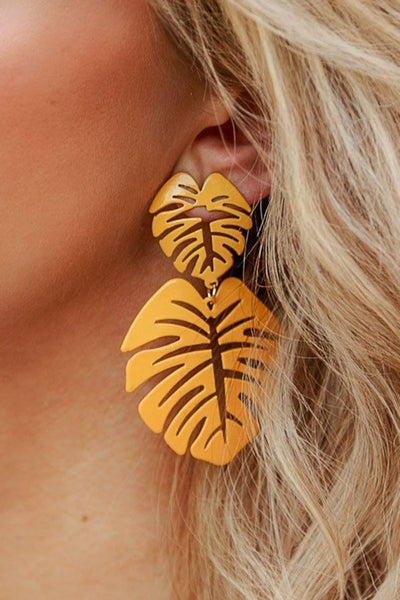 Mustard Gold Fall Leaf Drop Earrings