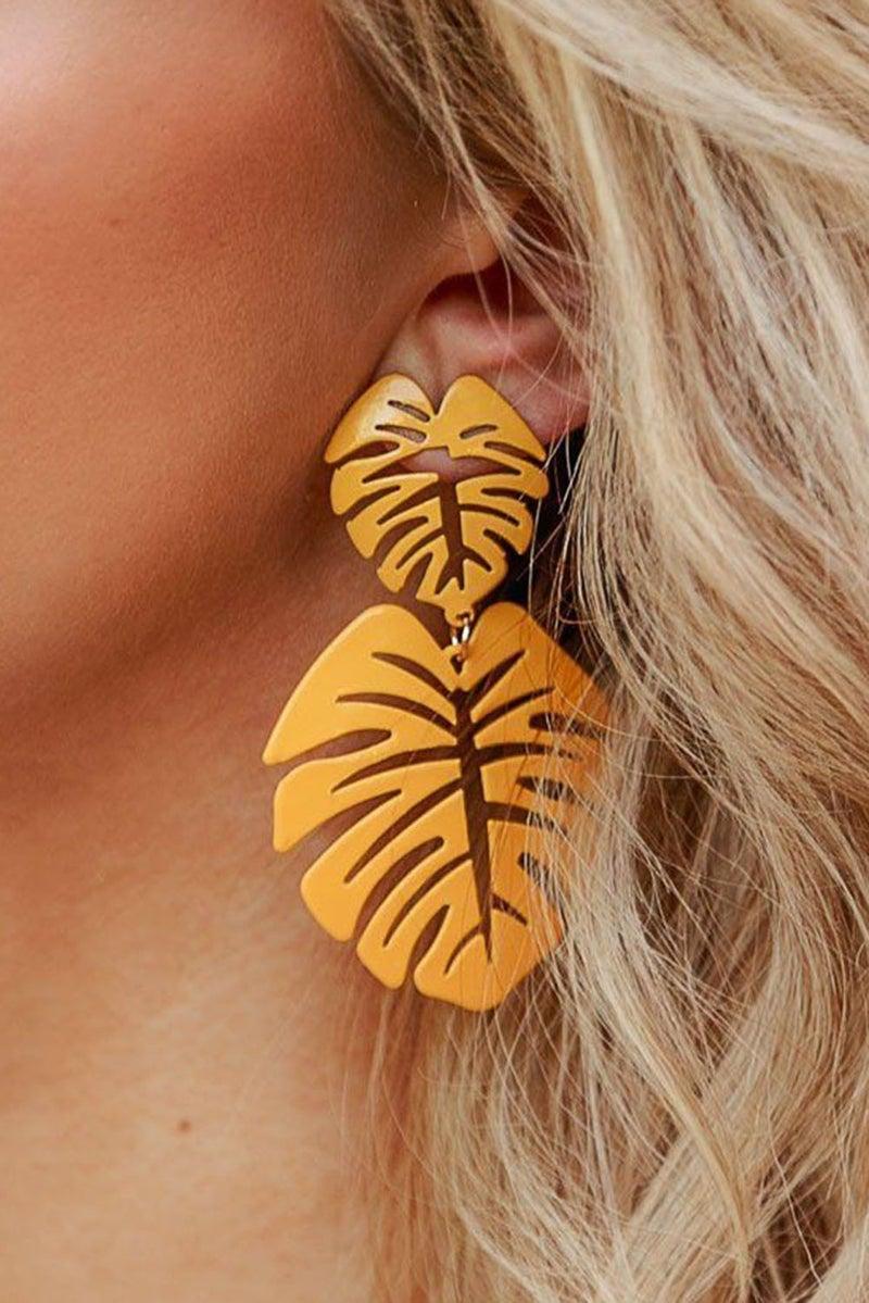 Mustard Gold Fall Leaf Drop Earrings
