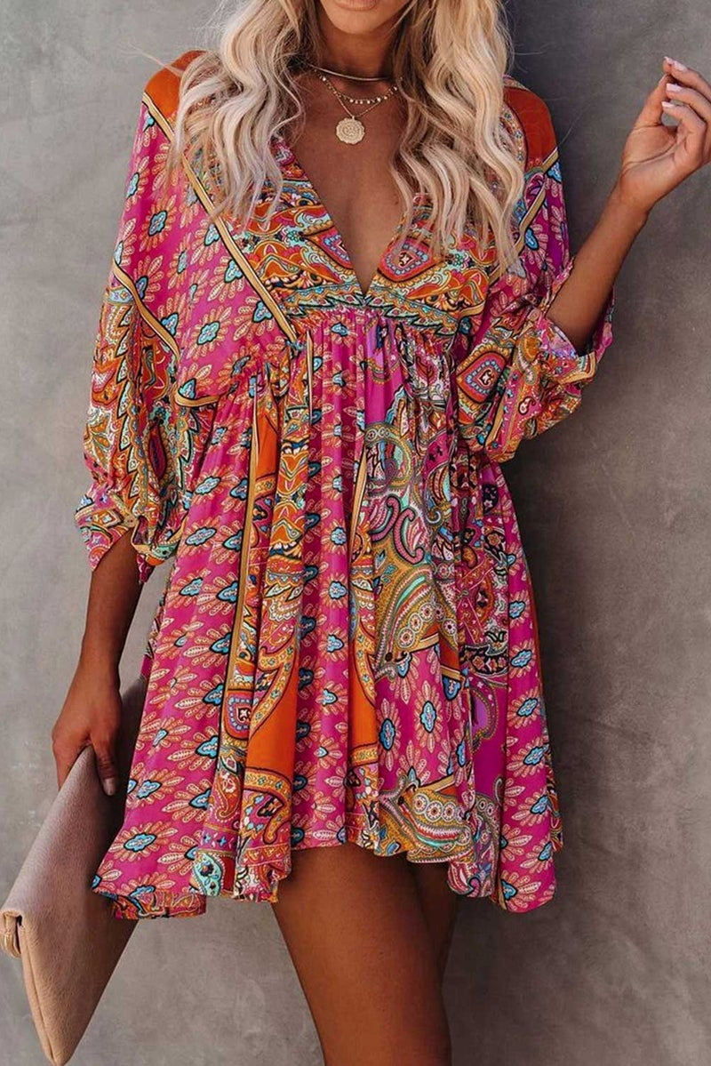 Multicolor V-Neck Bohemian Vintage Print Dress