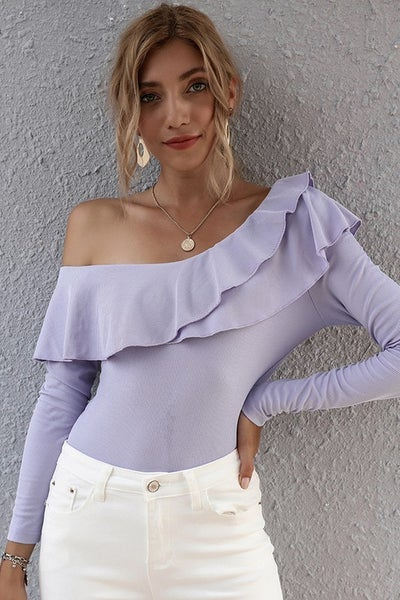Lavender Flouncing One Shoulder Long Sleeve Top