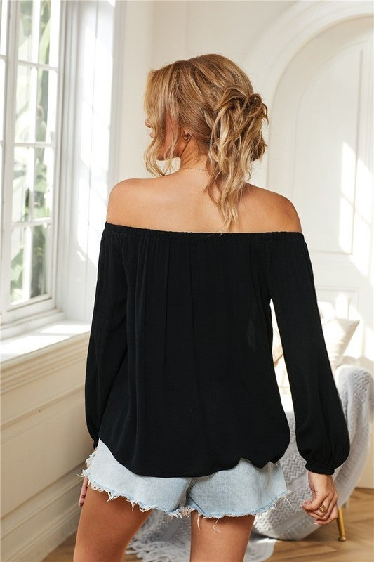 Black Embroidered Off Shoulder Bohemian Floral Blouse