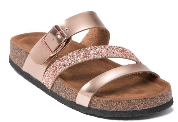 Rose Gold Buckle & Glitter Strap Look-A-Like Slip on Sandals
