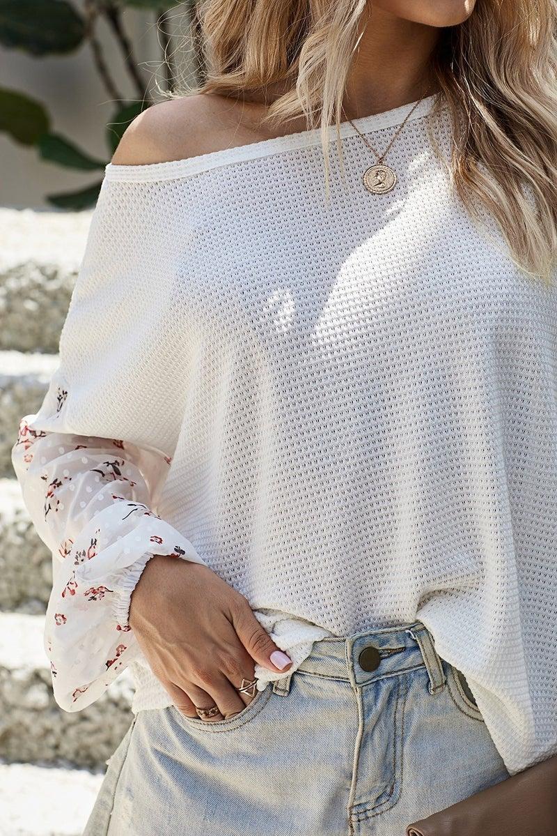 Blossom Bubble Sleeve Waffle Knit Top