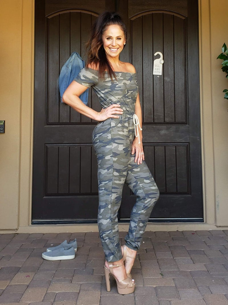 Camo Off the Shoulder Drawstring Jumpsuit