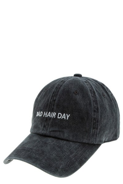 Charcoal BAD HAIR DAY Emroidered Pigment Baseball Hat