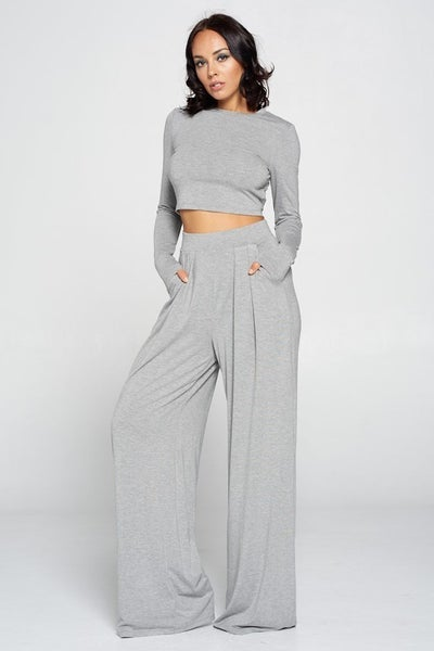 Heather Grey Long Sleeve Crop Top and High Waisted Pleated Palazzo Pant Set