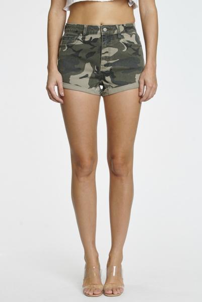 Camo Super High Rise Rolled Cuffed Denim Shorts