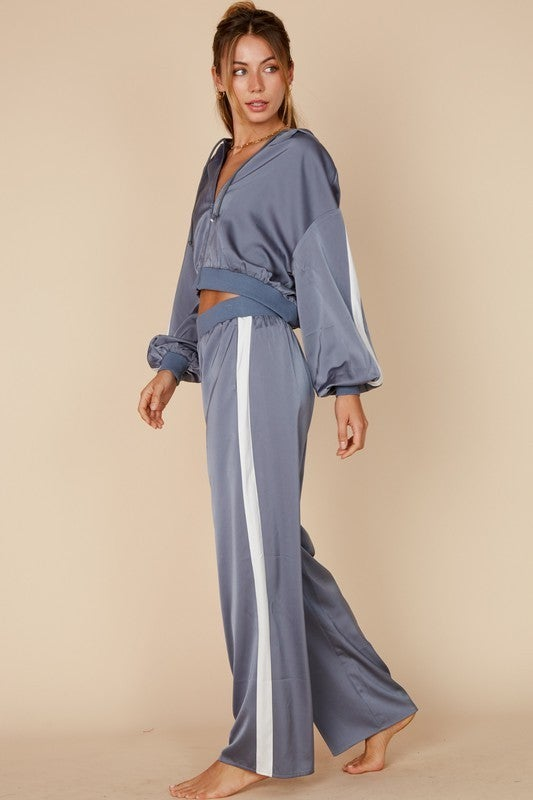 Denim & White Satin Cropped Jacket & Wide Leg Pant Track Suit