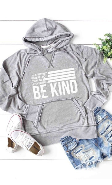 Grey Acid Wash Burnout Fleece BE KIND Lightweight Hoodie