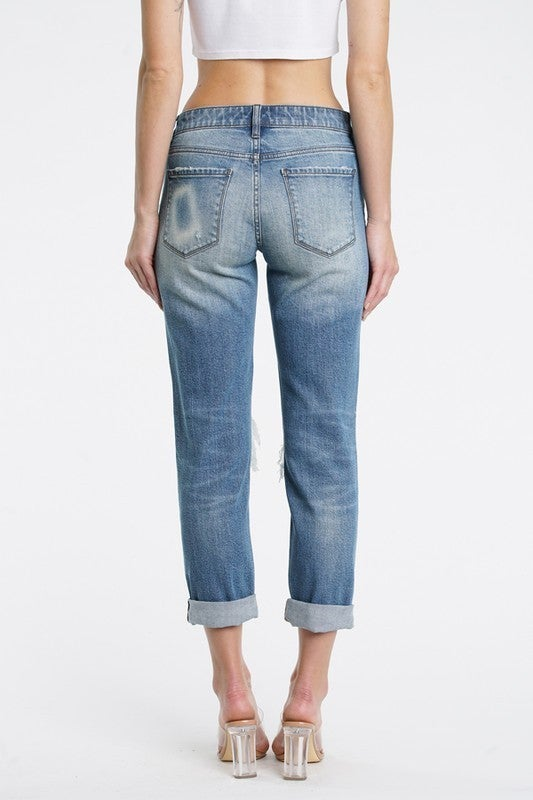 Medium Wash Mid Rise Rolled & Cuffed Knee Hole Girlfriend Jeans