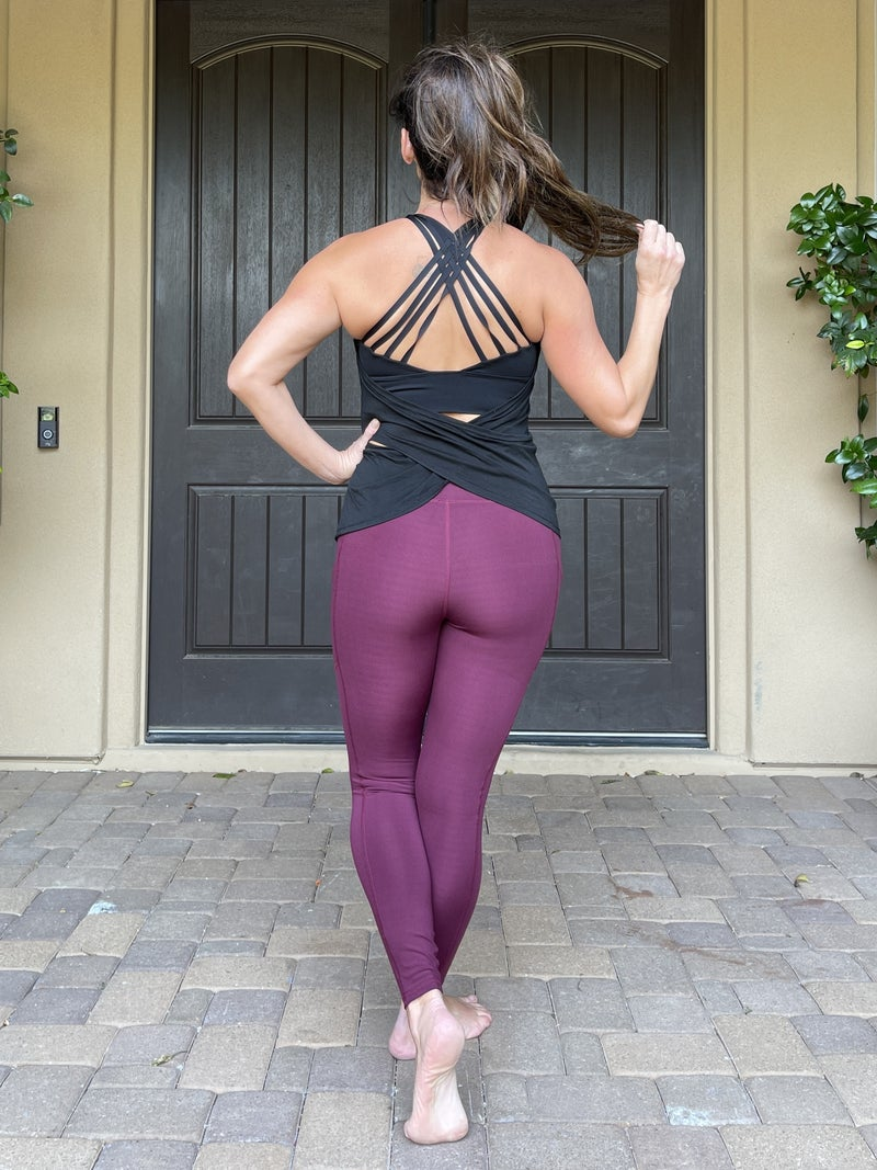 Full Length Compression Active Wide Waistband Leggings with Pockets