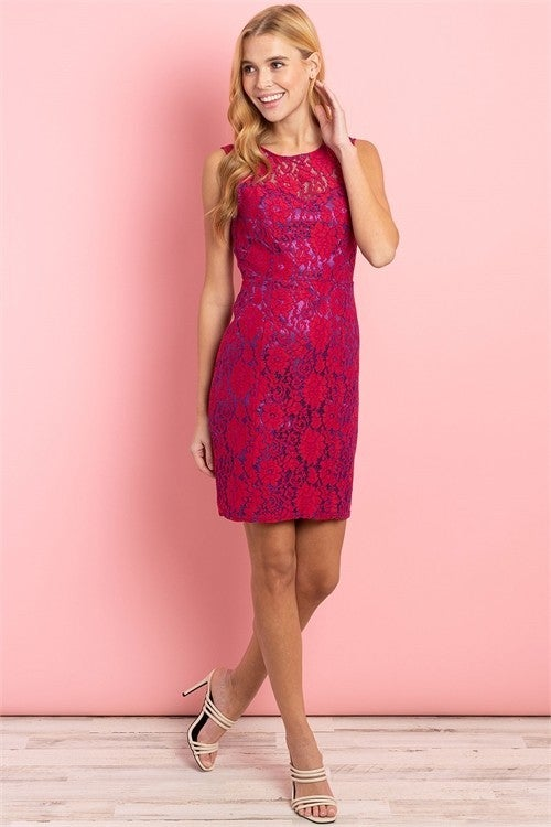 Red & Purple Lace Overlay Party Dress