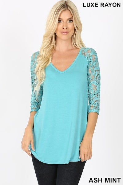 Ash Mint Luxe Rayon Lace Sleeve V-Neck Dolphin Hem Top