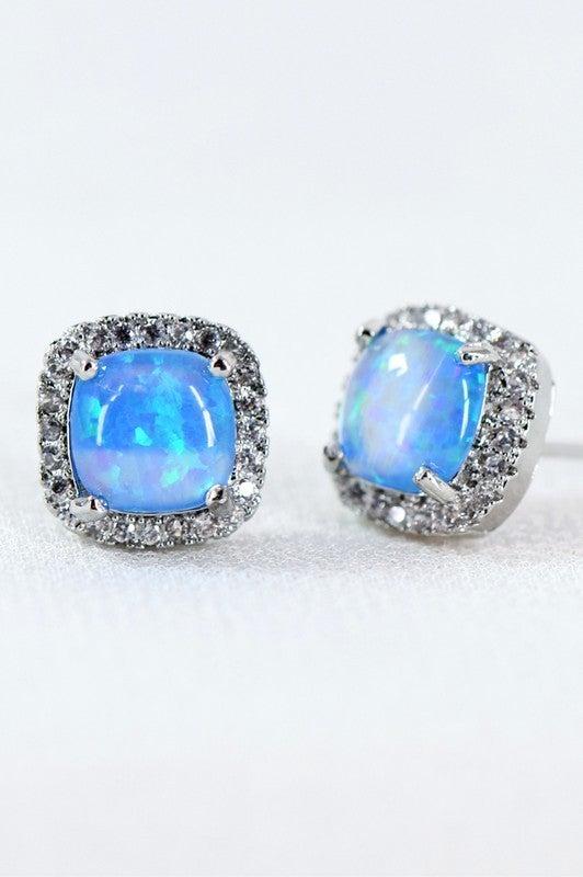 Dainty Opal & CZ Square Stud Earrings